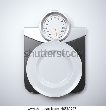 White empty plate on a scales with overweight. 3d rendering - stock photo