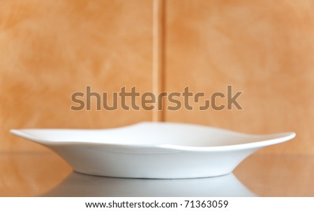 White empty plate on the table - stock photo