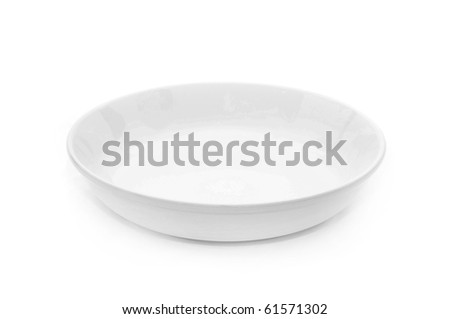 White empty plate over a white background. - stock photo