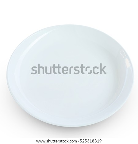 White empty plate top view isolated on white background. This has clipping path included.