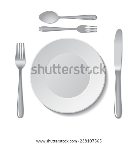 White empty plate with fork, spoon and knife on a white background.