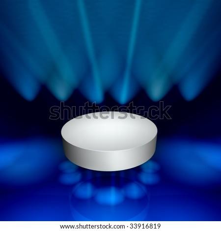 White empty podium on a show lit fantasy stage - stock photo