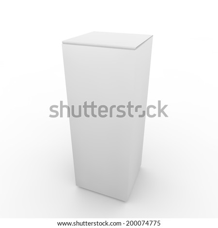 White empty rectangular package on the isolated background - stock photo