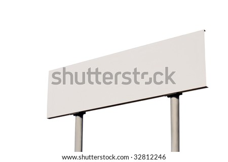 White Empty Road Name Sign, Isolated, Large Detailed Roadside Signage, Blank Copy Space Background