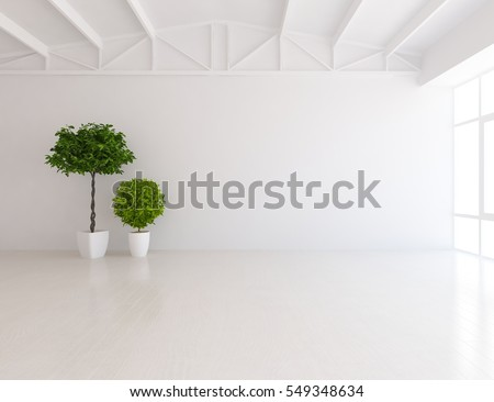 living room plant. white empty room with a plant  Living interior Scandinavian design 3d White Empty Room Plant Stock Illustration 549348634