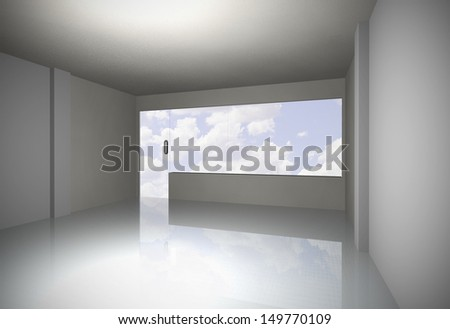 white empty room with clear sky, 3D rendering - stock photo