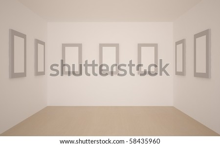 white empty room with frames on a wall