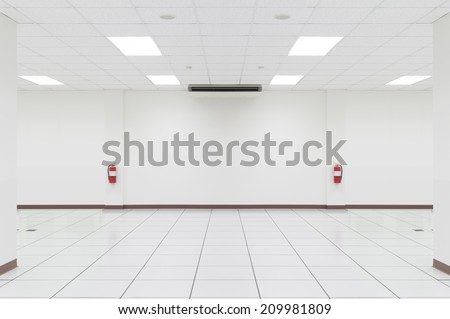 White empty room with OA floor. - stock photo