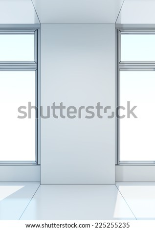 white empty room with window, 3d rendering - stock photo
