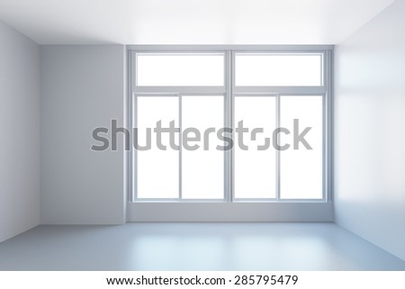 white empty room with window, 3d rendering - stock photo