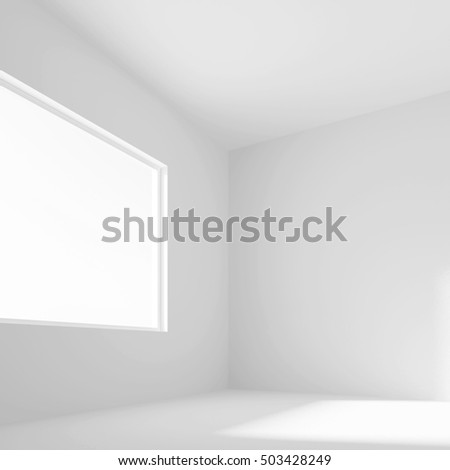 White Empty Room with Window. 3d Rendering of Minimal Office Interior Design. Abstract Futuristic Architecture Background.
