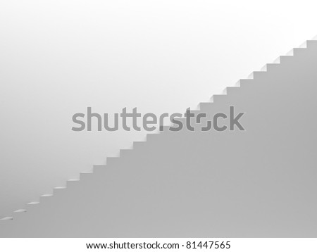 White empty stairs leading up, side view - stock photo