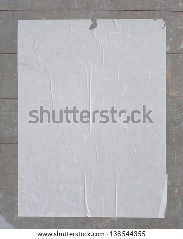 white empty street poster on posting board - stock photo