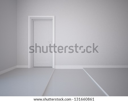 white empty wall with door