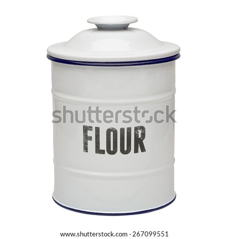 White enamel flour canister including clipping path - stock photo