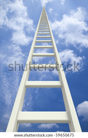 White endless ladder going up - stock photo