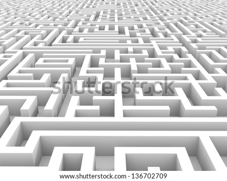 White endless maze. 3D illustration. - stock photo