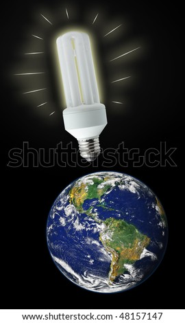 White energy saver bulb and planet Earth, photo of the Earth from NASA - stock photo