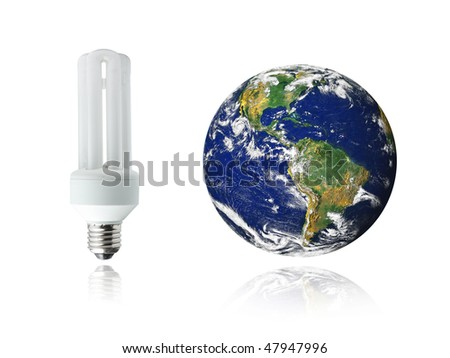 White energy saver bulb and planet Earth with reflections, photo of the Earth from NASA - stock photo