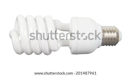 white energy saving bulb, Illuminated light bulb, CFL bulb, Realistic photo image on white background - stock photo
