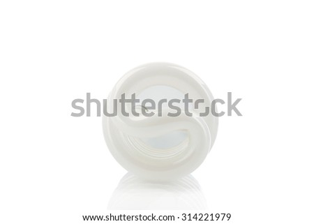 White energy saving lamp isolated in white background - photography and energy saving concept - stock photo