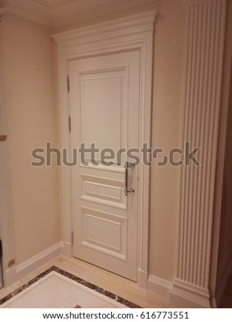 White entrance door with metal handle, stock photo