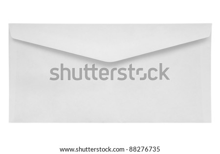 White Envelope isolated on white with a clipping path - stock photo