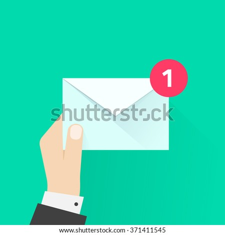 White envelope letter with counter notification, postman hand, concept of incoming email message, mail delivery service, newsletter announcement flat modern illustration design isolated image - stock photo