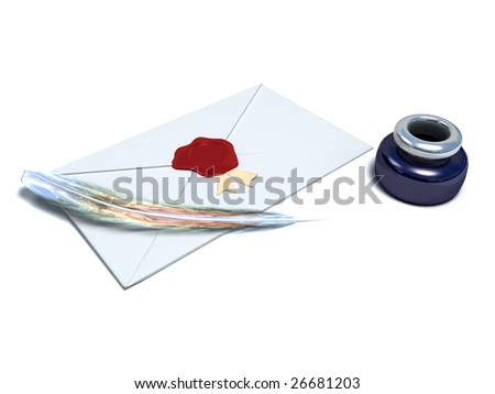 white envelope sealed with red wax seal isolated on white - stock photo