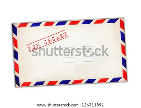 "White envelope stamp ""Top Secret"" isolated on white background."