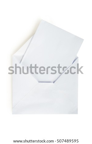 White envelope with a letter. On white, isolated background.