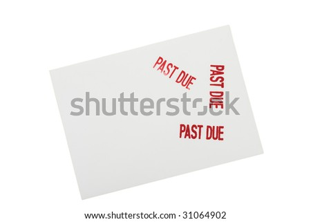 White envelope with past due stamped on it isolated on a white background, past due bills