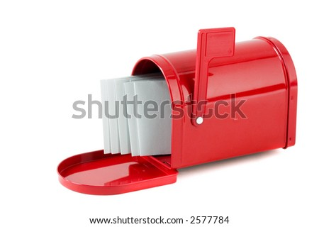 White envelopes in red mailbox on white background - stock photo