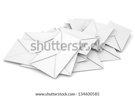 White envelopes. Isolated render on a white background