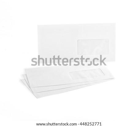 White envelopes with address window on white background - stock photo
