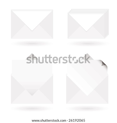 White envelopes with shadow with letter and page curl - stock photo