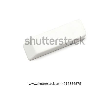 white eraser on a white background - stock photo