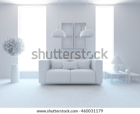 White example for your interior with furniture. Living room interior. Scandinavian interior. 3d illustration