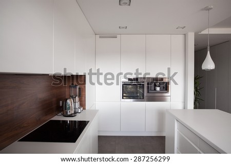 White exclusive clean kitchen with wooden panel