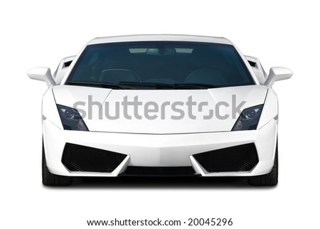 White exclusive supercar isolated on white. Front view. - stock photo