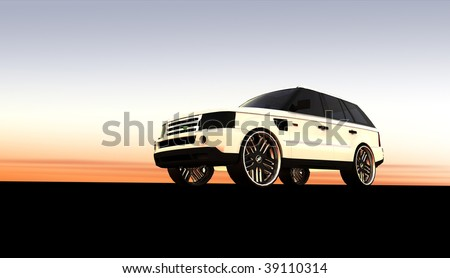 White Expensive luxury off road SUV / 4x4 at sunset / sunrise with copy space