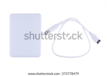 White external hard drive for backup and storage data isolated on white background - stock photo