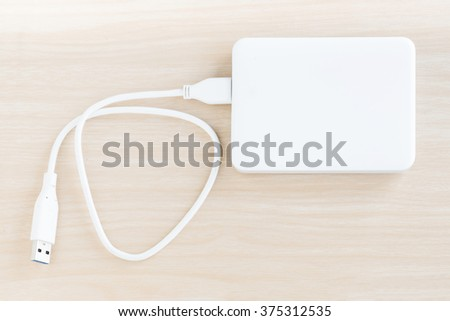 White external hard drive for backup and storage data on nature wood background - stock photo