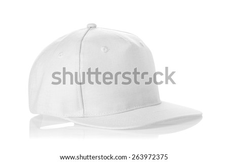 White fabric cap isolated on a white background. - stock photo