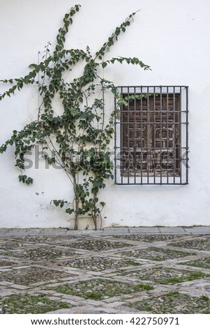 White facade with window in Cordoba - Spain  - stock photo