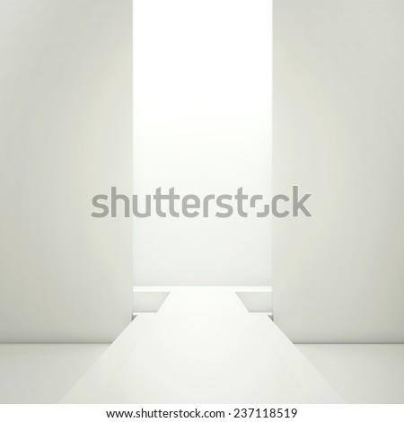 White fashion podium empty runway. - stock photo
