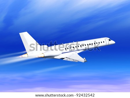 white fast jet in the blue sky landing away - stock photo