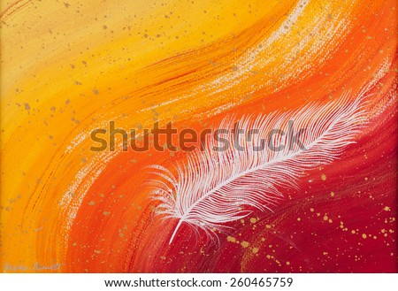 White feather abstract with orange wave background painting - stock photo
