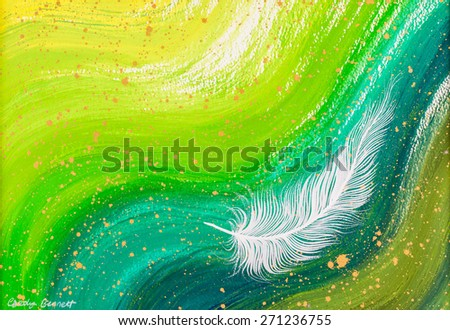 White feather with green swirl painting - stock photo