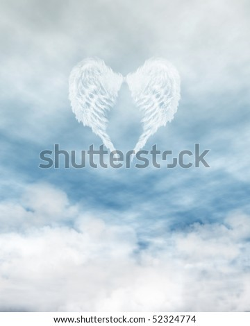 White feathered angel wings forming a heart shape on a background of blue sky and clouds - stock photo